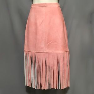 PRICE DROP! J Crew Collection 0, Pink Fringe Skirt